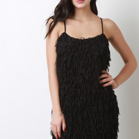 Fringed Spaghetti Strap Dress