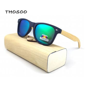 THOSOO Bamboo Wood Sunglasses with Blue Plastic Frames and Mirror Polarized Lens gafas de sol steampunk Sun Glasses