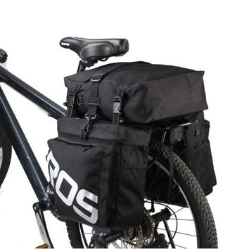 3-In-1 Black Bicycle Rear Seat Water Proof Travel Pannier Bag