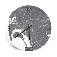 San Diego, California, Map Art Wall Clock