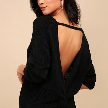 Wrapped in Warmth Black Knot Back Sweater