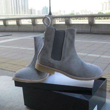 DCK7YE Handmade Mens Desert Boots Kanye West Suede Shoes 100%Genuine Leather Man Motorcycle S