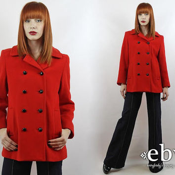 Vintage 70s Red Wool Double Breasted Peacoat S M Red Peacoat Red Wool Peacoat Vintage Peacoat Red Coat Red Wool Coat Double Breasted Coat
