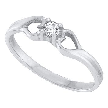 10kt White Gold Women's Round Diamond Solitaire Heart Promise Bridal Ring 1/10 Cttw - FREE Shipping (US/CAN)