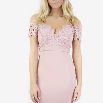 Absolute Date Pink Off The Shoulder Dress