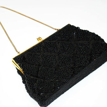 Black beaded   evening bag   - Signed BEL - British Hong Kong - Glass Beads - vintage hand bag  purse Clutch - gold  chain strap