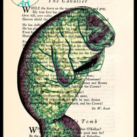 Green Manatee Drawing Beautifully Upcycled Vintage Dictionary Page Book Art Print, Sea Life Print