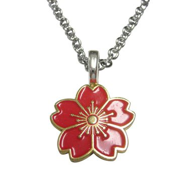 Red Cherry Blossom Flower Pendant Necklace