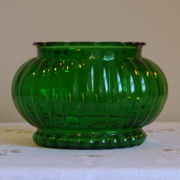 Vintage Green Glass Planter- Holiday Centerpiece- Forest Green Ribbed Oval Bowl- ALR Glass Company- Footed Bead Glass Container / Storage