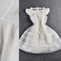 Solid Embroidered Lace Puff Sleeves Organza   Mini Dress