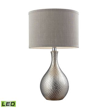 Hammered Chrome Plated LED Table Lamp With Grey Faux Silk Shade Chrome Plating