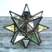 Vintage Mirrored Moravian Star Candleholder