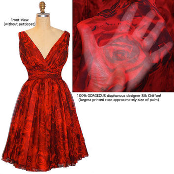 Gorgeous 100% Designer Silk Chiffon Passion Red Rose Print Dress... Regular size Listing...