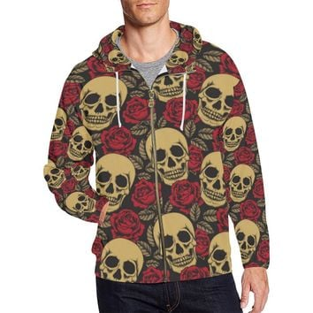 Skull & Roses Design 1 Men's All Over Print Full Zip Hoodie