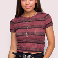 Hello World Striped Crop Top - Burgundy