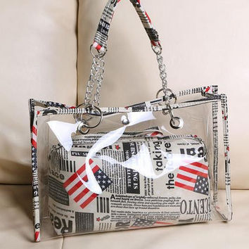 Summer Korean Stylish Transparent Tote Bag Fashion Strong Character Shoulder Bags [6582431303]
