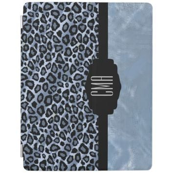 Blue Leopard Animal Print iPad Cover