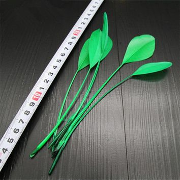"50 pcs Green goose wing feathers 5-7""/ 13-18cm"
