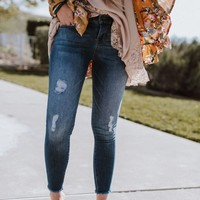 Sneak Peek Distressed Mid Rise Skinny Jeans - Denim