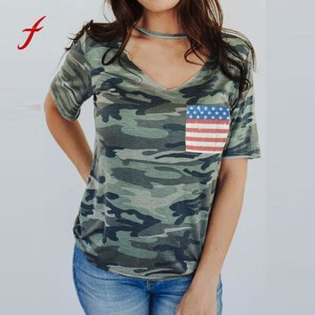 Women Camouflage V Neck Short Sleeve Tank T-Shirt Tops Casual Camouflage Print Tees loose Womens Casual T Shirts Clothes