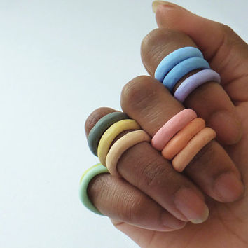 Pastel Resin Stacking Knuckle Rings - Set of Three - You Choose Colors