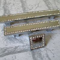 """3 3/4"""" Glass Cabinet Pulls Handles / Dresser Pulls / Drawer Pull Handles Silver Clear Crystal / Decorative Handle Hardware 96 mm C28"""