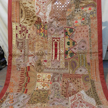 DESIGNER Handmade embroidery sari patchwork decoration tepestry wall hanging