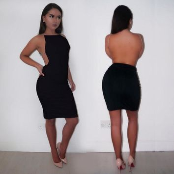 Sexy Sleeveless Strap Women Backless Dresses New  Hot Summer Night Club Bandage Slim Package Hip Dress Vestidos