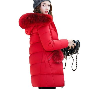 Winter Jacket women 2017 Cotton-Padded Warm Parkas Women Jackets Long Slim Fur collar hooded Coat for women Clothing Plus size