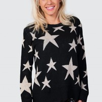 Black Long Sleeve Knit Sweater with All Over Star Print