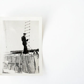 Hey There Sailor - Vintage 1940s/1950s Navy Photograph - Handsome Uniformed  Sailor on Ship Ladder, Wintertime Scene