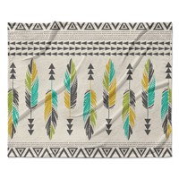 "Amanda Lane ""Painted Feathers Cream"" Tan Tribal Fleece Throw Blanket"