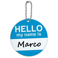 Marco Hello My Name Is Round ID Card Luggage Tag