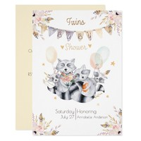 Raccoon Family Twins Boho Baby Shower Card