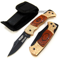 "5.25"" Mini Collector's Real Wood Handle Lockback Folding Pocket Knife with Case"