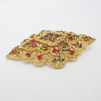 Vintage Large Brooch, Goldtone Brooch with Multicolour Rhinestone, UK Seller