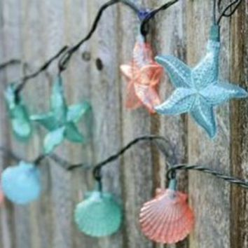 scallop and starfish nautical seashell patio party string lights