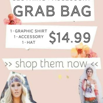 Graphic Shirt + Accessory + Hat GRAB BAG