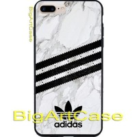 Adidas Marble Stripes Black Logo Print On Hard Plastic Case Cover iPhone 7 7+