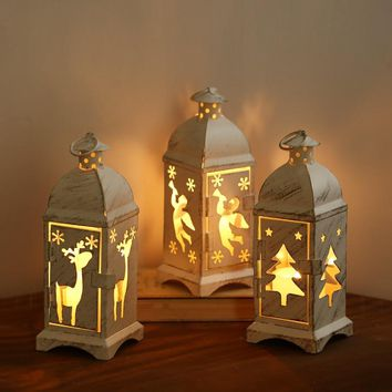 Romantic Hurricane Lamp Wrought Iron Decorative Furnishing Christmas Candle Holders Dinner Decorations Wedding Centerpieces
