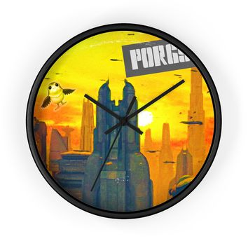 Porgs on the Wing Premium Wall Clock
