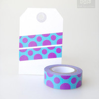 WASHI TAPE,lilac dots on turquoise background