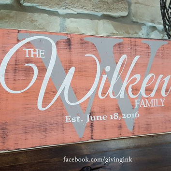 Rustic Personalized Wood Monogram Sign-Family Wilkens style