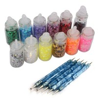 WAWO 12 Colors Bottle Nail Art Hexagon Rhinestones Sequins Tips Decor + 5 X 2 Way Marbleizing Dotting Pen
