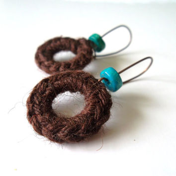 Crochet Earrings in Brown and Teal, Drop Circle Earrings, Color Block Bohemian Earrings, Hippie Jewelry with Coconut Beads, Copper Ear Wires