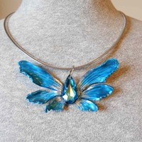 Bright Blue Fantasy Fairy Wing Pendant with Swarovski Crystal
