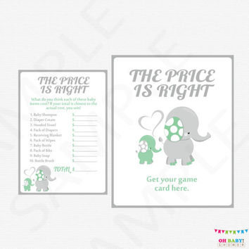 Mint and Gray Elephant Baby Shower Games The Price is Right Baby Shower Game AND Sign Printable Baby Shower Boy Girl DOWNLOAD ELLMG