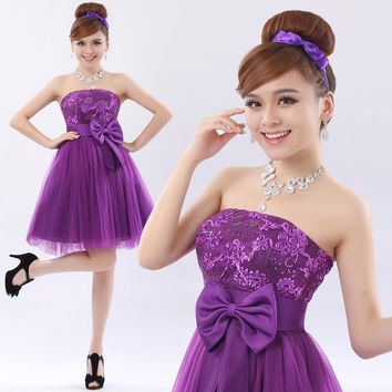 2017 new fashion Short bandage lace zipper cocktail dress short  short lace up purple dress