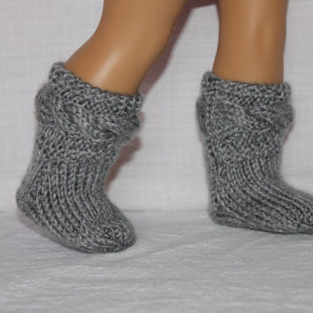 hand knit socks, grey cable socks, 18 inch doll clothes, american girl, maplelea