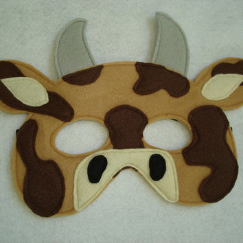 Children's Brown COW Farm Animal Felt Mask
